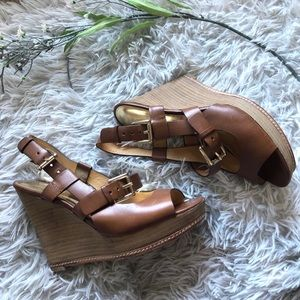 Coach Maryjo Leather Wedge Strappy Sandal Size 6.5